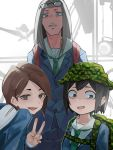 3girls :d absurdres asakusa_midori backpack bag black_eyes black_hair brown_eyes brown_hair camouflage_bag camouflage_headwear clip_studio_paint_(medium) eizouken_ni_wa_te_wo_dasu_na! eyewear_on_head green_neckwear grey_eyes highres kanamori_sayaka kurokiri6630 long_hair mizusaki_tsubame multiple_girls necktie open_mouth school_uniform short_hair smile standing v