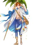 abs bag bracelet coconut_tree crab fire_emblem fire_emblem:_radiant_dawn fire_emblem_heroes flower full_body highres jewelry kippu leaf navel official_art open_clothes open_mouth open_shirt orange_eyes orange_hair palm_tree petals rhys_(fire_emblem) sandals seashell shell staff starfish teeth transparent_background tree
