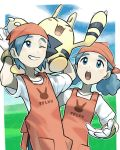 1boy 1girl apron arms_up bandana blue_eyes blue_hair character_print clouds day donnpati elekid gen_2_pokemon gloves grass highres light_blush on_shoulder one_eye_closed open_mouth orange_apron orange_bandana outdoors pokemon pokemon_(creature) pokemon_(game) pokemon_breeder_(pokemon) pokemon_on_shoulder pokemon_oras shirt sky teeth tongue white_gloves white_shirt
