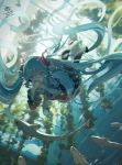 1girl absurdly_long_hair air_bubble aqua_eyes aqua_hair black_skirt bubble chromatic_aberration covering_mouth hatsune_miku long_hair nuudoru pleated_skirt shark signature skirt swimming twintails twitter_username underwear very_long_hair vocaloid wide_sleeves