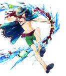 1boy abs bow_(weapon) bracelet cape coral fire_emblem fire_emblem:_the_sacred_stones fire_emblem_heroes fish full_body hat highres jewelry joshua_(fire_emblem) long_hair navel official_art open_mouth red_eyes redhead ring sandals shirtless solo suekane_kumiko swimsuit teeth transparent_background water weapon