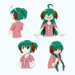 +++ +_+ 1girl :3 :d =3 ahoge alternate_hair_length alternate_hairstyle animal_ears arms_up blue_background blush blush_stickers braid commentary_request eighth_note embarrassed eyebrows_visible_through_hair floral_print flying_sweatdrops from_behind full-face_blush furrowed_eyebrows green_hair hair_between_eyes hair_bobbles hair_ornament hands_on_hips highres holding holding_hair kasodani_kyouko long_braid long_hair looking_back multiple_views musical_note open_mouth pink_shirt rakugaki-biyori shirt short_hair short_ponytail short_sleeves simple_background smile standing touhou twin_braids twintails upper_body very_long_hair wavy_mouth