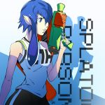 1girl alternate_costume bangs bike_shorts blue_eyes blue_hair blunt_bangs breasts commentary_request cosplay dh_(brink_of_memories) highres holding ink_tank_(splatoon) inkling inkling_(cosplay) looking_to_the_side persona persona_4 pointy_ears shadow shirogane_naoto shirt short_hair signature sleeveless solo splatoon_(series) splatoon_2 splattershot_(splatoon) t-shirt tentacle_hair water_gun weapon