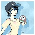 1girl alternate_costume bangs baseball_cap blue_eyes blue_hair breasts commentary_request crossover dh_(brink_of_memories) gen_7_pokemon hat highres holding looking_at_viewer persona persona_4 pokemon pokemon_(creature) pokemon_(game) pokemon_sm rowlet shadow shirogane_naoto shirt short_hair short_sleeves signature smile solo t-shirt yellow_shirt