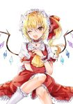 1girl ;d between_legs blonde_hair bright_pupils choker commentary_request cravat fang feet_out_of_frame flandre_scarlet hair_ribbon hand_between_legs hand_on_own_chest hat head_tilt heart_pendant highres hiiro60 kneehighs knees_up light_blush looking_at_viewer mob_cap one_eye_closed one_side_up open_mouth partial_commentary petticoat puffy_short_sleeves puffy_sleeves red_choker red_eyes red_nails red_skirt red_vest ribbon shirt short_hair short_sleeves simple_background sitting skin_fang skirt smile solo touhou vest white_background white_headwear white_legwear white_pupils white_shirt wings wrist_cuffs yellow_neckwear