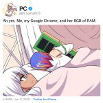 2girls 500_dollar_four_foot_tall_mareep bare_shoulders bed blanket blue_hair closed_mouth dark_skin detached_sleeves english_text google_chrome google_chrome_(merryweather) highres hinghoi holding hug internet_explorer_(webcomic) long_hair looking_at_another lying meme merryweather multicolored_hair multiple_girls pc_(personification) personification ram_(computer) redhead short_hair text_focus twitter