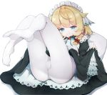 1girl ahoge ass blonde_hair blue_eyes braid commentary dress dress_lift eyebrows_visible_through_hair highres lifted_by_self looking_at_viewer lying maid maid_headdress no_shoes on_back original pantyhose smile solo teranekosu white_legwear