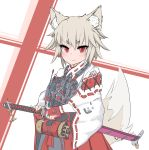 1girl :| absurdres animal_ears antennae artist_name blonde_hair body_armor canister closed_mouth commentary_request earplugs eyebrows_visible_through_hair fingerless_gloves fox_ears fox_girl fox_tail gloves hakama highres hikimayu holding holding_sword holding_weapon japanese_clothes katana kimono looking_at_viewer miko original pouch red_eyes red_gloves red_hakama sheath sheathed short_eyebrows short_hair simple_background striped striped_background sword tactical_clothes tail tsurime tube upper_body weapon white_background white_kimono wide_sleeves wolfkine
