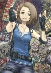 1girl 5others @_@ bags_under_eyes belt black_gloves brown_hair camisole casual chiyo_maru commentary_request denim elbow_pads fingerless_gloves fisheye gloves grey_skin highres holding holding_knife holster jeans jill_valentine jitome knife multiple_others night pants police_badge resident_evil resident_evil_3 reverse_grip shoulder_holster single_elbow_pad solo_focus surrounded zombie