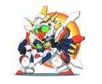absurdres chibi clenched_hands fighting_stance fujishiro_nekomata fusion g_gundam glowing glowing_eyes god_gundam green_eyes gundam highres mecha no_humans shining_gundam solo white_background