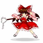 1girl bow brown_hair closed_mouth collarbone detached_sleeves dress eyebrows_visible_through_hair frilled_skirt frills gohei hair_tubes hakurei_reimu holding japanese_clothes long_hair pink_frills pink_legwear pixel_art red_eyes red_shirt red_skirt ribbon-trimmed_sleeves ribbon_trim sandals shirt simple_background skirt smile solo touhou tsukimiya_toito white_background