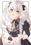 1girl :d akapug621 alternate_costume apron blue_eyes bow enmaided fate/grand_order fate_(series) hair_bow maid maid_apron maid_headdress marie_antoinette_(fate/grand_order) open_mouth plaid skirt_hold smile twintails white_hair