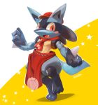 1boy animal_ears apron artist_name blush blush_stickers cabbie_hat clenched_hand clothed_pokemon commentary_request fangs full_body furry gen_4_pokemon hand_up hat highres kuroma_(kuroma0227) leg_up looking_to_the_side lucario male_focus muscle neckerchief no_humans open_mouth paws poke_ball_symbol poke_ball_theme pokemon pokemon_(creature) pokemon_(game) pokemon_cafe_mix red_eyes red_headwear red_neckwear ribbon sideways_mouth signature simple_background solo spikes standing standing_on_one_leg star_(symbol) starry_background tail two-tone_background white_background wolf_ears wolf_tail yellow_background