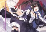 1girl bandages black_hair bow cross cross_necklace date_a_live detached_sleeves dress eyebrows_visible_through_hair eyepatch flower hair_flower hair_ornament highres jewelry necklace novel_illustration official_art outstretched_hand red_eyes ring tears tokisaki_kurumi translation_request tsunako twintails umbrella