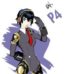 1girl aegis_(persona) aegis_(persona)_(cosplay) alternate_costume android arm_behind_back bangs blue_eyes blue_hair bodysuit breasts cosplay dh_(brink_of_memories) gloves hairband headphones joints looking_at_viewer mechanical_parts necktie persona persona_3 persona_4 red_neckwear robot_joints salute shirogane_naoto short_hair signature simple_background smile solo white_background