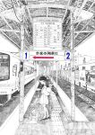1girl absurdres arrow_(symbol) bangs black_hair densya_t from_side greyscale ground_vehicle highres long_hair looking_at_viewer monochrome no_nose original skirt solo spot_color swept_bangs traditional_media train train_station translation_request