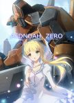 1girl aldnoah.zero asseylum_vers_allusia blonde_hair copyright_name deeple dress eyebrows_visible_through_hair glowing glowing_eyes green_eyes highres kg-6_sleipnir long_hair mecha open_mouth photoshop_(medium) white_dress
