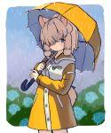 1girl alpaca_ears alpaca_girl alpaca_suri_(kemono_friends) alpaca_tail alternate_costume animal_ears blue_eyes blush commentary_request cowboy_shot eyebrows_visible_through_hair hair_over_one_eye hair_tubes highres hood hood_down ichi001 japari_symbol kemono_friends kemono_friends_3 long_sleeves rain raincoat short_hair solo tail umbrella white_hair yellow_raincoat yellow_umbrella