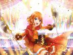 axe blue_eyes cape dress ebisu_tsukasa orange_hair short_hair shoujo_kageki_revue_starlight smile