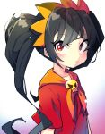 1girl ashley_(warioware) black_hair dress frown hair_ribbon highres looking_to_the_side neckerchief raised_eyebrow red_dress red_eyes ribbon s2offbeat skull twintails warioware