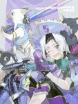 1boy armor black_hair bruise cuts felyne gloves hat highres holding holding_weapon injury melynx monster_hunter monster_hunter_4 monster_hunter_4_g multicolored_hair nishihara_isao one_eye_closed open_mouth scar scrape scratches short_hair skin_tight teeth turtleneck two-tone_hair undressing violet_eyes weapon white_hair