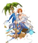abs bag bandages bracelet coconut_tree fire_emblem fire_emblem:_radiant_dawn fire_emblem_heroes flower full_body highres injury jewelry kippu leaf navel official_art one_eye_closed open_clothes open_shirt orange_eyes orange_hair palm_tree petals rhys_(fire_emblem) sandals seashell shell sitting staff starfish teeth torn_clothes transparent_background tree