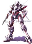 arx-8_laevatein character_name clenched_hand full_metal_panic! holding holding_knife knife lin+ looking_down mecha no_humans redesign solo white_background yellow_eyes