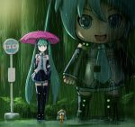 3girls aqua_eyes aqua_hair aqua_neckwear black_legwear black_skirt black_sleeves boots bus_stop bush commentary detached_sleeves expressionless forest full_body grey_shirt hair_ornament hatsune_miku highres holding holding_umbrella knee_boots light_blush long_hair looking_at_viewer mayo_riyo mikudayoo minigirl miniskirt multiple_girls nature necktie night open_mouth orange_footwear outdoors parody pink_umbrella pleated_skirt puddle rain raincoat shirt shoulder_tattoo sign skirt sleeveless sleeveless_shirt smile standing studio_ghibli tattoo thigh-highs tonari_no_totoro twintails umbrella very_long_hair vocaloid wide_shot yellow_raincoat zettai_ryouiki