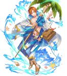 abs bag bracelet coconut_tree fire_emblem fire_emblem:_radiant_dawn fire_emblem_heroes flower full_body highres jewelry kippu leaf navel official_art open_clothes open_mouth open_shirt orange_eyes orange_hair palm_tree petals rhys_(fire_emblem) sandals seashell shell staff starfish teeth transparent_background tree water