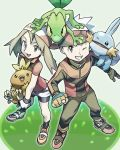 1boy 1girl bandana bangs bike_shorts black_legwear black_shorts brown_hair collared_shirt commentary_request donnpati fingerless_gloves from_above gen_3_pokemon gloves grass grey_eyes haruka_(pokemon) highres holding holding_pokemon mudkip on_head one_eye_closed open_mouth poke_ball_print pokemon pokemon_(creature) pokemon_(game) pokemon_on_head pokemon_rse red_shirt shirt shoes shorts socks standing starter_pokemon starter_pokemon_trio teeth tongue torchic treecko upper_teeth white_gloves yellow_gloves yuuki_(pokemon)