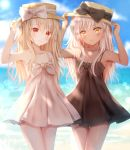 2girls :3 arm_up armpits arms_up bangs bare_arms bare_shoulders black_bow black_dress blurry blurry_background blush bow brown_eyes brown_headwear chloe_von_einzbern closed_mouth collarbone dark_skin day depth_of_field dress eyebrows_visible_through_hair fate/kaleid_liner_prisma_illya fate_(series) hair_between_eyes hand_on_headwear hat hat_bow highres horizon illyasviel_von_einzbern light_brown_hair long_hair looking_at_viewer multiple_girls nasii ocean outdoors pleated_dress red_eyes silver_hair sleeveless sleeveless_dress sundress very_long_hair water white_bow white_dress