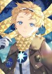 1boy akapug621 blonde_hair blue_eyes bomber_jacket fate/grand_order fate/requiem fate_(series) gloves goggles goggles_on_head jacket male_focus scarf sky smile spacesuit star_(sky) star_(symbol) starry_sky voyager_(fate/requiem) white_gloves yellow_scarf