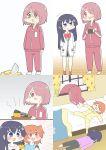 ashitaba_tomorou bed broken_window dropping hoshino_hinata hoshino_miyako_(wataten) look-alike pajamas pushing_away red_neckwear shirosaki_hana sleeping tears track_suit watashi_ni_tenshi_ga_maiorita!