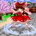 1girl blue_neckwear bow brown_hair cherry_blossoms closed_mouth clouds detached_sleeves eyebrows_visible_through_hair hair_tubes hakurei_reimu holding hose japanese_clothes long_hair miko outdoors pink_frills pink_sleeves pixel_art red_bow red_shirt red_skirt ribbon-trimmed_sleeves ribbon_trim shirt shrine skirt solo stone_floor touhou tsukimiya_toito