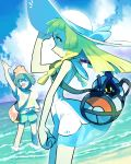 2girls bag bangs beanie black_hair blonde_hair braid clenched_hand clouds commentary_request cosmog day donnpati dress gen_7_pokemon green_eyes hand_on_headwear hat highres legendary_pokemon lillie_(pokemon) long_hair mizuki_(pokemon) multiple_girls ocean open_mouth outdoors poke_ball_print pokemon pokemon_(creature) pokemon_(game) pokemon_sm profile red_headwear shirt short_sleeves shorts sky sleeveless sleeveless_dress smile standing sun_hat tied_shirt twin_braids water white_dress white_headwear