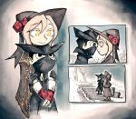 1boy 1girl black_coat bloodborne coat flower gloves hat head_on_head height_difference hug hunter_(bloodborne) looking_at_another mask plain_doll rose setz shawl stairs white_hair yellow_eyes