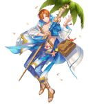 abs bag bracelet coconut_tree fire_emblem fire_emblem:_radiant_dawn fire_emblem_heroes flower full_body highres jewelry kippu leaf navel official_art open_clothes open_shirt orange_eyes orange_hair palm_tree petals rhys_(fire_emblem) sandals seashell shell staff starfish transparent_background tree