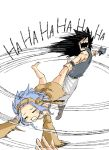 1boy 1girl ankle_grab bare_shoulders barefoot black_hair blue_hair cat closed_eyes crying detached_sleeves dress fairy_tail gajeel_redfox hair_between_eyes hairband levy_mcgarden long_hair mashima_hiro motion_lines official_art open_mouth pantherlily pants sharp_teeth shirt short_hair simple_background sleeveless swinging teeth white_background