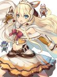 3girls :o alice_corner arm_up bangs belt belt_buckle blonde_hair blue_eyes blush boots bow buckle cape chibi eyebrows_visible_through_hair flat_chest gloves hair_between_eyes headgear highres kenja_no_mago kikuchi_seiji long_hair looking_at_viewer may_von_alsheid midriff multiple_girls navel official_art open_mouth outstretched_arm pose purple_hair ribbon rin_hughes simple_background skirt spoilers upper_teeth white_background