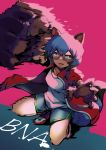1girl animal_ears blue_hair blue_shorts brand_new_animal claws clenched_hand clip_studio_paint_(medium) copyright_name fang full_body furry jacket kagemori_michiru kurokiri6630 looking_at_viewer motion_blur open_mouth pink_background punching raccoon_ears raccoon_girl raccoon_tail red_jacket shirt shoes short_hair short_shorts shorts simple_background sneakers solo tail track_jacket white_shirt