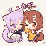 >_o 2girls ;d animal_ear_fluff animal_ears bangs black_hoodie blue_bow blush bone_hair_ornament bow braid brown_background brown_eyes brown_hair cartoon_bone cat_ears cat_girl cat_tail chibi dog_ears dog_girl dog_tail eyebrows_visible_through_hair hair_between_eyes heart highres hololive hood hood_down hoodie inugami_korone jacket kneehighs long_hair long_sleeves multiple_girls muuran nekomata_okayu no_shoes notice_lines one_eye_closed open_mouth pants puffy_long_sleeves puffy_pants puffy_sleeves purple_hair red_bow red_legwear signature smile tail translation_request twin_braids violet_eyes virtual_youtuber white_pants wide_sleeves yellow_jacket yellow_legwear