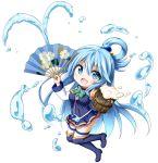 1girl :d aqua_(konosuba) bangs beer_mug black_footwear blue_eyes blue_hair blue_legwear blue_shirt blue_skirt blush boots bow breasts chibi cup detached_sleeves eyebrows_visible_through_hair fan foam folding_fan full_body green_bow hair_between_eyes hair_ornament hair_rings highres holding holding_cup holding_fan kono_subarashii_sekai_ni_shukufuku_wo! kuena long_hair long_sleeves looking_at_viewer medium_breasts mug open_mouth pleated_skirt shirt simple_background skirt sleeveless sleeveless_shirt smile solo thigh-highs thigh_boots very_long_hair water white_background white_legwear white_sleeves