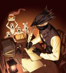 1boy arizuka_(catacombe) black_background black_gloves black_headwear black_scarf black_sweater_vest bloodborne book bow candle chair commentary_request cup feathers food gloves hat highres holding holding_plate hunter_(bloodborne) indoors knife long_sleeves male_focus mask mouth_mask open_book orange_background painttool_sai_(medium) paper plate sandwich scarf shirt sitting steam sweater_vest table teacup teeth watch white_bow white_shirt