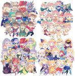 1boy 3girls arabian_clothes armor arrow_(projectile) axe bard_(final_fantasy) beastmaster_(final_fantasy) bell berserker_(final_fantasy) black_mage blonde_hair blue_mage bow brown_hair butz_klauser chemist_(final_fantasy) dancer_(final_fantasy) dragoon_(final_fantasy) faris_scherwiz final_fantasy final_fantasy_v fire geomancer_(final_fantasy) hair_bun hat highres knight_(final_fantasy) kodachi krile_mayer_baldesion lance lenna_charlotte_tycoon mask monk_(final_fantasy) multiple_girls ninja_(final_fantasy) pauldrons pink_hair polearm ponytail purple_hair ranger_(final_fantasy) red_mage robe samurai_(final_fantasy) short_sword shoulder_armor shuriken simple_background staff summoner_(final_fantasy) sword takatora time_mage weapon whip white_mage
