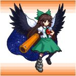 1girl arm_cannon bird_wings black_footwear black_frills black_wings blouse bow brown_hair cape collared_blouse control_rod eyebrows_visible_through_hair frilled_skirt frills green_bow green_skirt hair_bow long_hair lowres mismatched_footwear pixel_art red_eyes reiuji_utsuho short_sleeves skirt smile solo starry_sky_print third_eye touhou tsukimiya_toito v-shaped_eyebrows weapon white_blouse wings
