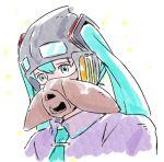 1girl aqua_eyes aqua_hair aqua_neckwear commentary cosplay crossover dress goggles hair_ornament hatsune_miku helmet kaze_no_tani_no_nausicaa long_hair mask mayo_riyo mouth_mask nausicaa nausicaa_(cosplay) necktie portrait purple_dress solo studio_ghibli twintails vocaloid