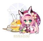 1girl animal_ear_fluff animal_ears azur_lane character_name chibi fox_ears fox_girl fox_tail green_eyes hair_ornament hairband hairpin hanazuki_(azur_lane) holding holding_umbrella japanese_clothes kimono long_hair manjuu_(azur_lane) pink_hair pink_hairband print_umbrella shirokitsune spoon tail tea teapot umbrella white_kimono wide_sleeves