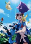 1boy :d absurdres baseball_cap black_hair brown_eyes clouds commentary_request day dragonite fletchling from_below gen_1_pokemon gen_4_pokemon gen_6_pokemon gen_8_pokemon gengar gossifleur happy hat highres light_blush light_rays on_shoulder open_mouth outdoors pikachu pokemon pokemon_(anime) pokemon_(creature) pokemon_on_shoulder pokemon_swsh_(anime) riolu satoshi_(pokemon) shirt shorts sky smile spread_fingers sunbeam sunlight swirlix teeth tongue upper_teeth white_shirt wristband xue_ezi