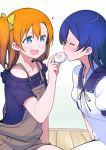 2girls bangs baozi blue_eyes blue_hair blush closed_eyes commentary_request feeding food hair_between_eyes holding holding_food incoming_food kousaka_honoka long_hair love_live! love_live!_school_idol_project multiple_girls one_side_up open_mouth orange_hair repunit short_sleeves simple_background sitting sonoda_umi