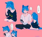 1boy 1girl :d animal_ears antenna_hair arm_grab backlighting bangs barefoot between_legs between_thighs black_pants blue_hair blush body_blush brother_and_sister cat_boy cat_ears cat_girl cat_tail cellphone clenched_hand closed_eyes closed_mouth collarbone dot_nose eye_contact eyebrows from_side furrowed_eyebrows hair_between_eyes half-closed_eye hand_between_legs hand_up head_down highres holding holding_phone indian_style jitome long_hair looking_at_another looking_down looking_up loose_clothes loose_shirt motion_lines multiple_views navy_blue_shirt niwabuki noshime_ruka off_shoulder one_eye_closed open_mouth original pants phone pink_background profile puckered_lips red_eyes rubbing_eyes satonaka_kei shirt short_sleeves siblings signature simple_background sitting sleepy sleeves_past_elbows smartphone smile speech_bubble t-shirt tail translation_request white_shirt yokozuwari
